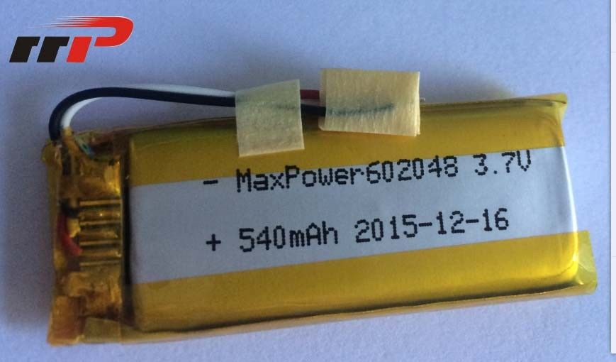540mAh 602048 Lithium Polymer Batteries High temperature UL CE IEC